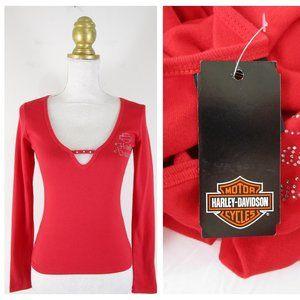 Harley Davidson Red Rhinstone Long Sleeve Shirt